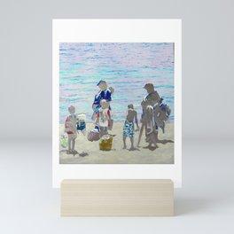 Family Beach Day at Santa Cruz, CA Mini Art Print