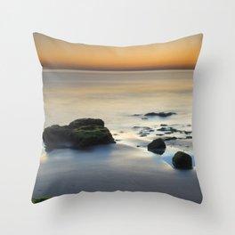 Wet sunset reflections Throw Pillow