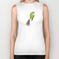 parrot Biker Tanks featuring Parrot by Juliana Motzko
