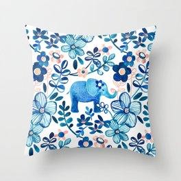 Blush Pink, White and Blue Elephant and Floral Watercolor Pattern Throw Pillow