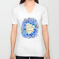 waldo V-neck T-shirts featuring The Earth Laughs in Flowers – Gold & Blue by Cat Coquillette