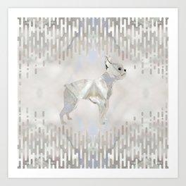 Boston Terrier pearl silhouette Art Print