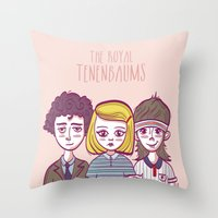 royal tenenbaums Throw Pillows featuring Tenenbaums by Pilotinta