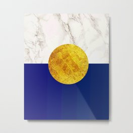 Navy blue with white marble #society6 Metal Print