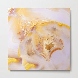 Modern Blush and gold Agate Metal Print