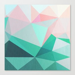 Geometric Landscape - Pink and Green Canvas Print