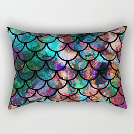 Abstract Black Fish Scales Pattern Rectangular Pillow