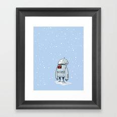 Robot Love Snow Framed Art Print