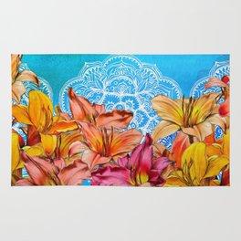 Orange Lilies & White Mandala on Blue Rug