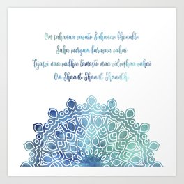 Watercolor Om Shaanti Yoga Opening Prayer Mandala Art Print