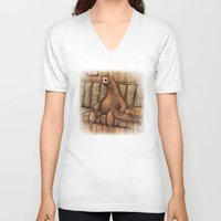 drunk V-neck T-shirts featuring Drunk Sloth by Brian Coldrick