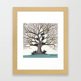 Hackensack Whimsical Cats in Tree Framed Art Print