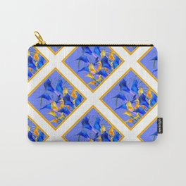 PATTERNED MODERN ABSTRACT BLUE & GOLD CALLA LILIES Carry-All Pouch