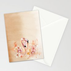 Tropical birds- Flamingo in LOVE with exotic flowers on #Society6 Stationery Cards