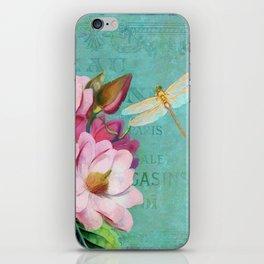 Verdigris Pink Magnolias iPhone Skin