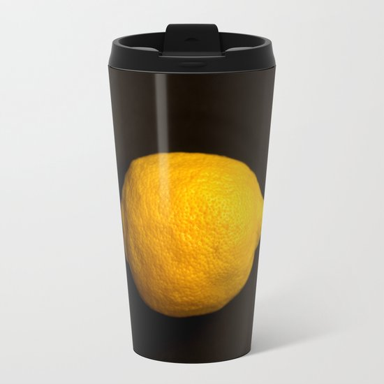 Yellow Lemon Metal Travel Mug