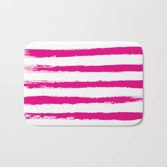 Pretty Pink STRIPES Handpainted Brushstrokes Bath Mat