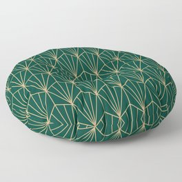 Art Deco Vector in Green and Gold Floor Pillow