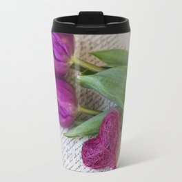 pink spring Tulips with heart Travel Mug