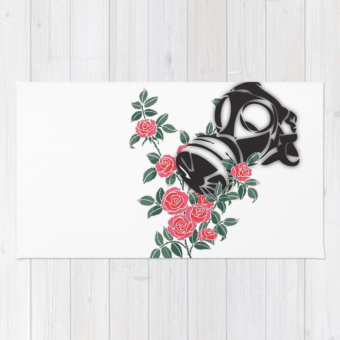smell the roses - gas mask Rug
