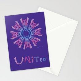 United Mandala with UNITED (s) - Violet Stationery Cards