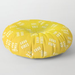 Sunny Yellow and White Distressed Effect Good Vibes Floor Pillow