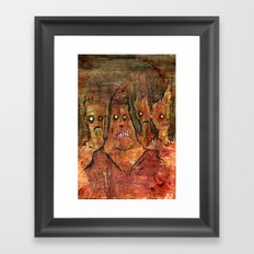 Zombies in a Red Dawn Apocalypse Framed Art Print