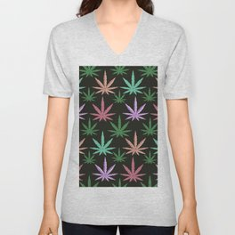 Marijuana Muted Colors Unisex V-Neck