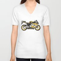 honda V-neck T-shirts featuring Honda CBR1000 & Old Newspapers by Larsson Stevensem