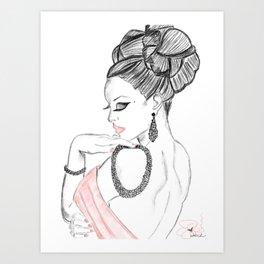 Delicate and Demure Feminine Illustration  Art Print