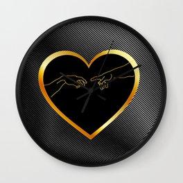 Creation of Adam inside a golden heart and metallic texture Wall Clock