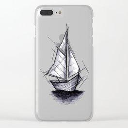 Sailboat Handmade Drawing, Art Sketch, Barca a Vela, Illustration Clear iPhone Case