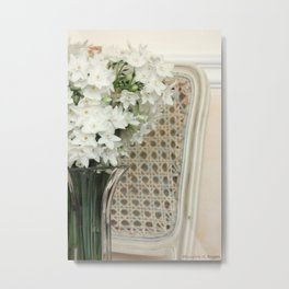 Winter Narcissus & Vintage French Chair Metal Print
