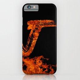 Burning on Fire Letter J iPhone Case