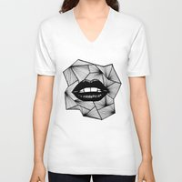 lips V-neck T-shirts featuring Lips by Aurelie