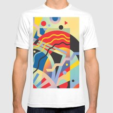 Graphic Abstraction 3 MEDIUM Mens Fitted Tee White