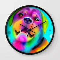 rottweiler Wall Clocks featuring Funky Rottweiler by Sally Rowland Art