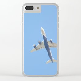 Flying plane enveloped in air Clear iPhone Case