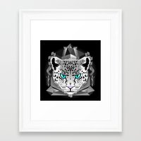 snow leopard Framed Art Prints featuring Snow Leopard by chobopop