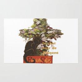Easter Le Chat Noir de Paques With Floral Cross Rug