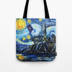 Tardis Starry Night Castle Tote Bag
