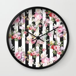 Bold pink watercolor roses floral black white stripes Wall Clock