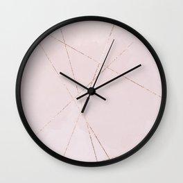 Geometrical blush pink rose gold glitter lines Wall Clock