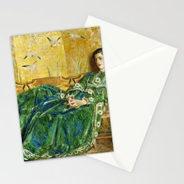 Frederick Childe Hassam - April, The Green Gown - Digital Remastered Edition Stationery Cards
