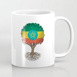 Vintage Tree of Life with Flag of Ethiopia Coffee Mug