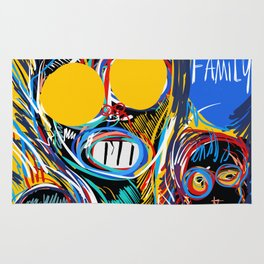 A Happy Loving Family Street Art Graffiti Rug