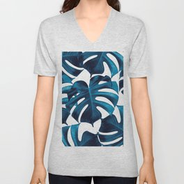 Tropical Monstera Leaves Dream #8 #tropical #decor #art #society6 Unisex V-Neck