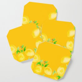 Lemons on Mustard Yellow Coaster