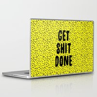 get shit done Laptop & iPad Skins featuring Get Shit Done 1980s 1990s by Crafty Lemon