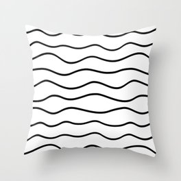Modern White and Black Horizontal Wave Pattern // Squiggly Hand Drawn Lines Throw Pillow